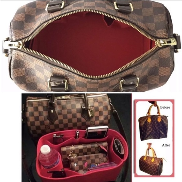 c3a988ef16d8 🌹 Speedy 25 Neverfull MM Bag Organizer insert Red NWT